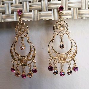Joan Rivers filigree chandelier earrings